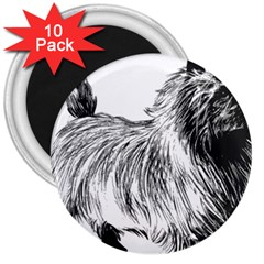 Cairn Terrier Greyscale Art 3  Magnets (10 pack)