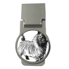 Cairn Terrier Greyscale Art Money Clips (Round)