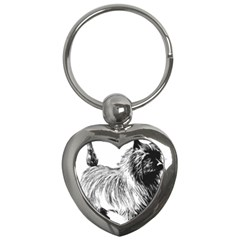 Cairn Terrier Greyscale Art Key Chains (Heart)