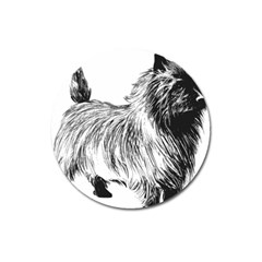 Cairn Terrier Greyscale Art Magnet 3  (Round)