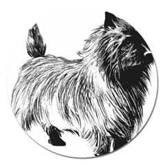Cairn Terrier Greyscale Art Magnet 5  (Round)