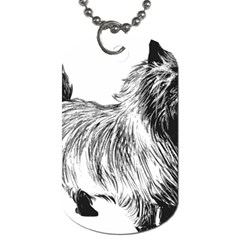 Cairn Terrier Greyscale Art Dog Tag (Two Sides)