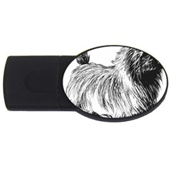 Cairn Terrier Greyscale Art USB Flash Drive Oval (1 GB)