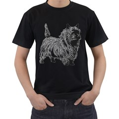 Cairn Terrier Greyscale Art Men s T-Shirt (Black) (Two Sided)