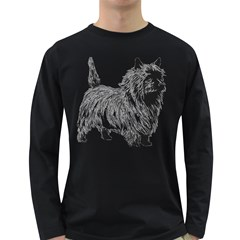 Cairn Terrier Greyscale Art Long Sleeve Dark T-Shirts