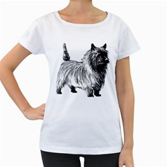 Cairn Terrier Greyscale Art Women s Loose-Fit T-Shirt (White)