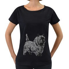 Cairn Terrier Greyscale Art Women s Loose-Fit T-Shirt (Black)