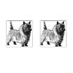 Cairn Terrier Greyscale Art Cufflinks (Square)