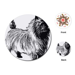 Cairn Terrier Greyscale Art Playing Cards (Round)
