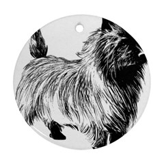 Cairn Terrier Greyscale Art Round Ornament (Two Sides)