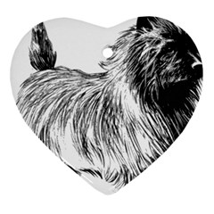 Cairn Terrier Greyscale Art Heart Ornament (Two Sides)