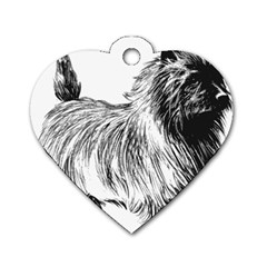 Cairn Terrier Greyscale Art Dog Tag Heart (One Side)