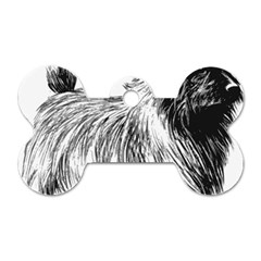 Cairn Terrier Greyscale Art Dog Tag Bone (Two Sides)
