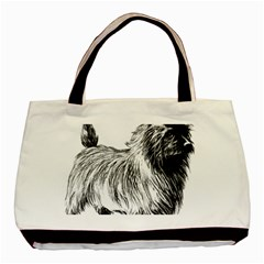 Cairn Terrier Greyscale Art Basic Tote Bag (Two Sides)