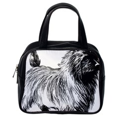 Cairn Terrier Greyscale Art Classic Handbags (One Side)