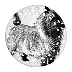Cairn Terrier Greyscale Art Ornament (Round Filigree)