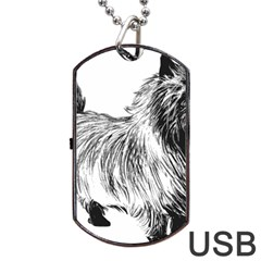 Cairn Terrier Greyscale Art Dog Tag USB Flash (Two Sides)