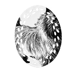 Cairn Terrier Greyscale Art Oval Filigree Ornament (Two Sides)