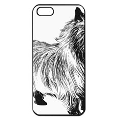 Cairn Terrier Greyscale Art Apple iPhone 5 Seamless Case (Black)