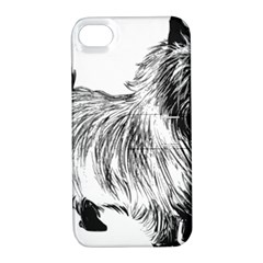 Cairn Terrier Greyscale Art Apple iPhone 4/4S Hardshell Case with Stand