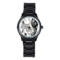 Cairn Terrier Greyscale Art Stainless Steel Round Watch