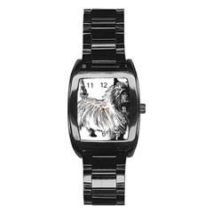 Cairn Terrier Greyscale Art Stainless Steel Barrel Watch