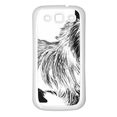 Cairn Terrier Greyscale Art Samsung Galaxy S3 Back Case (White)