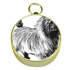 Cairn Terrier Greyscale Art Gold Compasses
