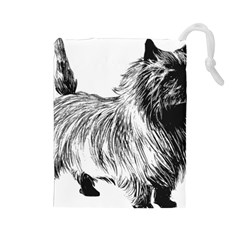 Cairn Terrier Greyscale Art Drawstring Pouches (Large)
