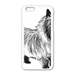 Cairn Terrier Greyscale Art Apple iPhone 6/6S White Enamel Case