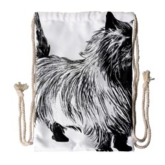 Cairn Terrier Greyscale Art Drawstring Bag (Large)