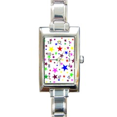 Stars Pattern Background Colorful Red Blue Pink Rectangle Italian Charm Watch