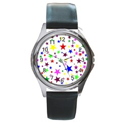 Stars Pattern Background Colorful Red Blue Pink Round Metal Watch
