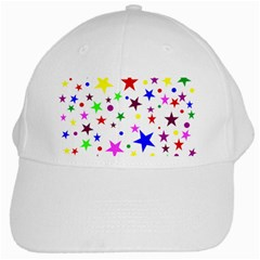 Stars Pattern Background Colorful Red Blue Pink White Cap