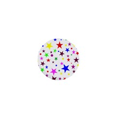 Stars Pattern Background Colorful Red Blue Pink 1  Mini Buttons