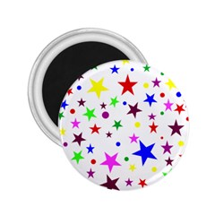 Stars Pattern Background Colorful Red Blue Pink 2 25  Magnets
