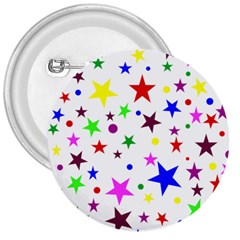Stars Pattern Background Colorful Red Blue Pink 3  Buttons