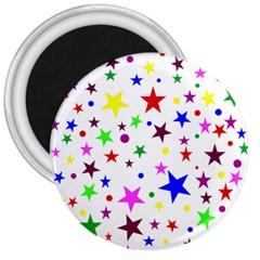 Stars Pattern Background Colorful Red Blue Pink 3  Magnets