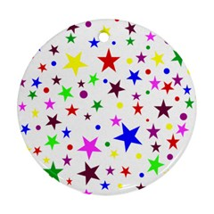 Stars Pattern Background Colorful Red Blue Pink Ornament (Round)