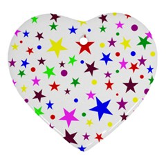 Stars Pattern Background Colorful Red Blue Pink Ornament (Heart)