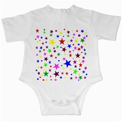 Stars Pattern Background Colorful Red Blue Pink Infant Creepers