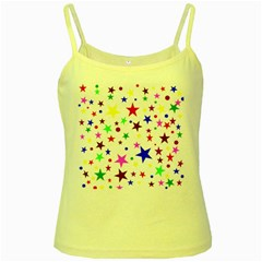 Stars Pattern Background Colorful Red Blue Pink Yellow Spaghetti Tank