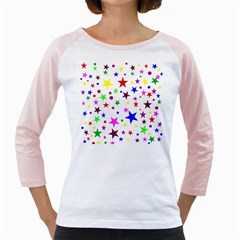 Stars Pattern Background Colorful Red Blue Pink Girly Raglans