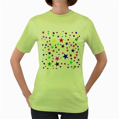 Stars Pattern Background Colorful Red Blue Pink Women s Green T-Shirt