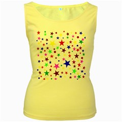 Stars Pattern Background Colorful Red Blue Pink Women s Yellow Tank Top