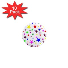 Stars Pattern Background Colorful Red Blue Pink 1  Mini Magnet (10 pack)