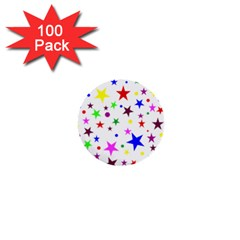 Stars Pattern Background Colorful Red Blue Pink 1  Mini Buttons (100 pack)