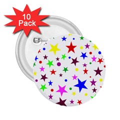Stars Pattern Background Colorful Red Blue Pink 2.25  Buttons (10 pack)