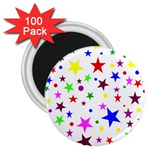 Stars Pattern Background Colorful Red Blue Pink 2.25  Magnets (100 pack)