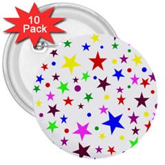 Stars Pattern Background Colorful Red Blue Pink 3  Buttons (10 pack)